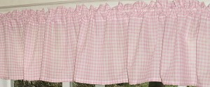 Light Pink Gingham Check Valances (set of two 40 inch wide, available in many lengths)