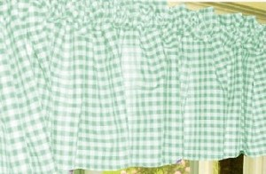 Mint Green Gingham Check Valance