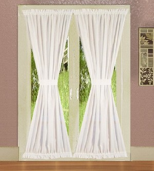 Bright White French Door Curtain With Tiebacks