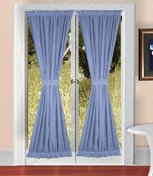 Caribbean Blue French Door Curtain With Tiebacks