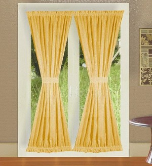 Gold French Door Curtain With Tiebacks
