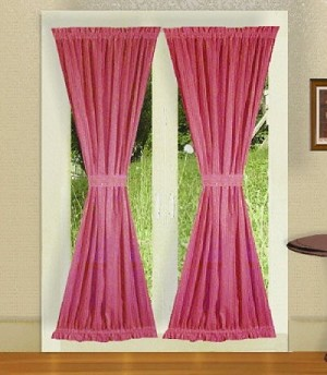 Hot Pink-Fuchsia French Door Curtain With Tiebacks