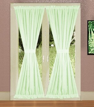 Solid Light Green Colored French Door Curtain (available in many lengths)