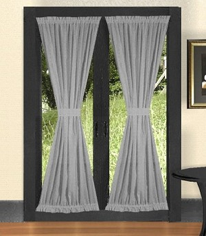 Solid Light Silver Gray Colored French Door Curtain (available in many lengths)