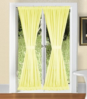 Light Yellow French Door Curtain With Tiebacks