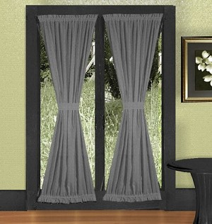 Buy Designer Curtains Solid Medium Gray Colored French Door Curtains