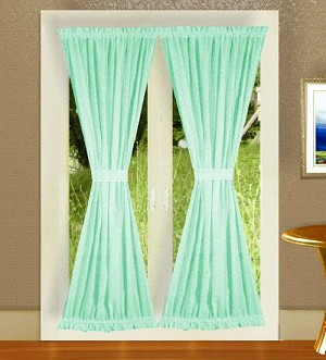 Solid Mint Green Colored French Door Curtain (available in many lengths)