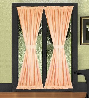 Peach French Door Curtain With Tiebacks
