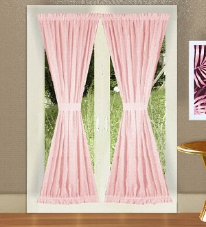 Pink French Door Curtain With Tiebacks