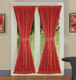 Red French Door Curtain With Tiebacks