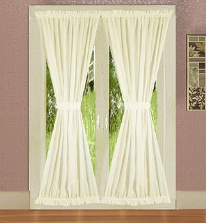 Soft White French Door Curtain With Tiebacks
