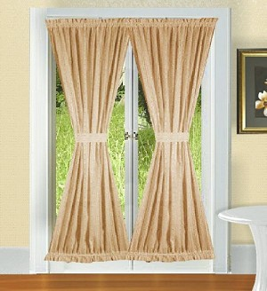 Solid Tan Colored French Door Curtain (available in many lengths)
