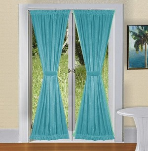 Turquoise French Door Curtain With Tiebacks