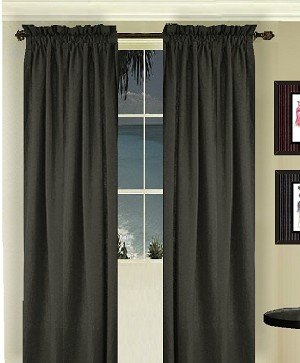 Solid Black Long Curtain (Includes Tie-Backs)