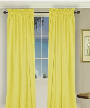Solid Lemon Yellow Long Curtain (Includes Tie-Backs)