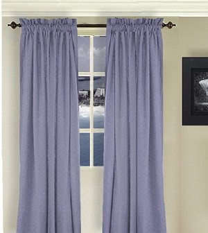 Solid Caribbean Blue Long Curtain (Includes Tie-Backs)