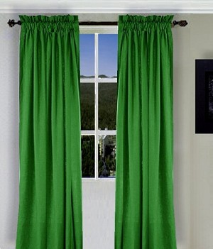 Solid Kelley Green Colored Window Long Curtain (available in many lengths and 3 rod pocket sizes)