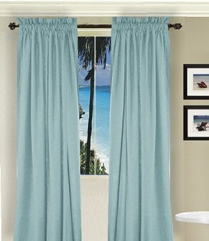 Solid Light (Baby) Blue Long Curtain (Includes Tie-Backs)
