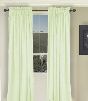 Solid Light Green Long Curtain (Includes Tie-Backs)