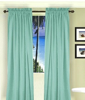 Solid Mint Green Long Curtain (Includes Tie-Backs)