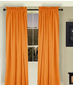 Solid Orange Colored Window Long Curtain (available in many lengths and 3 rod pocket sizes)