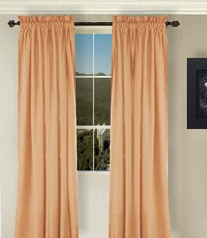 Solid Peach-Apricot Long Curtain (Includes Tie-Backs)