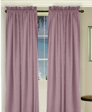 Solid Powder Plum Colored Long Window Curtain (available in many lengths and 3 rod pocket sizes)
