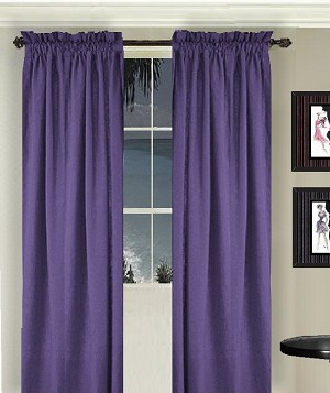 Solid Purple Colored Window Long Curtain (available in many lengths and 3 rod pocket sizes)
