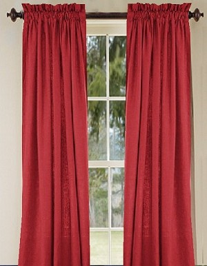 Solid Red Long Curtain (Includes Tie-Backs)