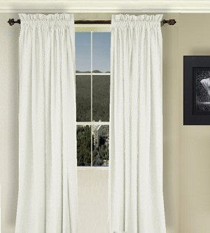 Solid Off White Long Curtain (Includes Tie-Backs)