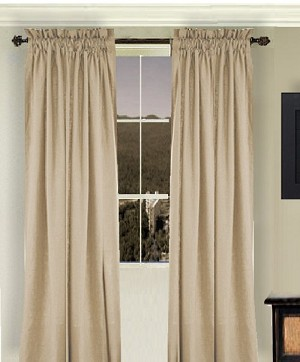 Solid Tan-Beige Long Curtain (Includes Tie-Backs)
