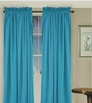 Solid Turquoise Colored Window Long Curtain (available in many lengths and 3 rod pocket sizes)