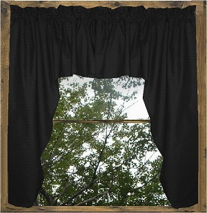 Solid Black Colored Swag Window Valance (optional center piece available)
