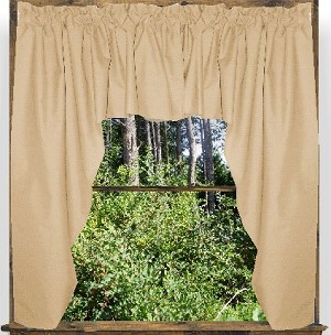 Solid Tan Colored Swag Window Valance Optional Center