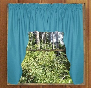 Solid Turquoise Colored Swag Window Valance (optional center piece available)