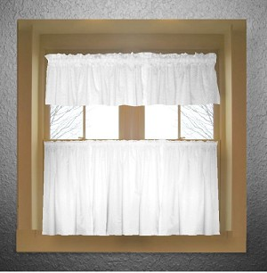 Solid Bright White Colored Kitchen Curtain only — Valance Sold Separately — (available in many custom lengths)