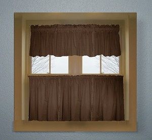 Brown Kitchen Curtain with Valances