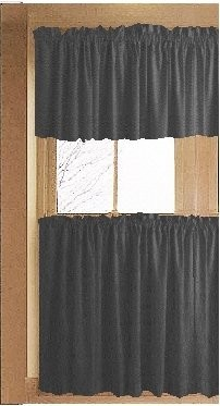 Solid Charcoal Gray Café Style Tier Curtain (includes 2 valances and 2 kitchen curtain panels in many custom lengths)
