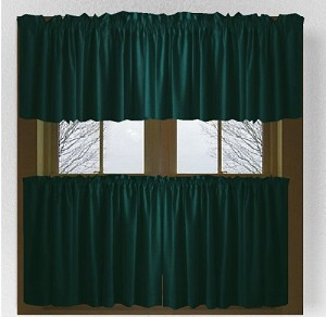 Solid Dark Teal Colored Caf 233 Style Curtain Includes 2