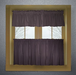 Eggplant Purple Kitchen Curtain with Valances