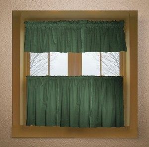 Solid Hunter Green Colored Kitchen Curtain only — Valance Sold Separately — (available in many custom lengths)