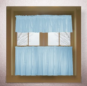 Solid Light Baby Blue Colored Kitchen Curtain only — Valance Sold Separately — (available in many custom lengths)