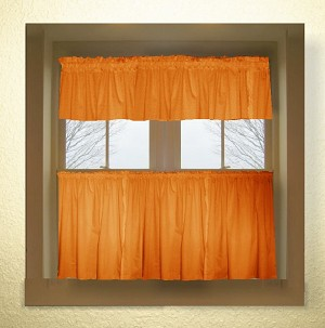 Solid Orange Colored Café Style Curtain (includes 2 valances and 2 kitchen curtain panels in many custom lengths)