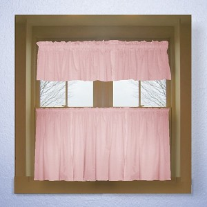 Solid Pink Colored Kitchen Curtain only — Valance Sold Separately — (available in many custom lengths)