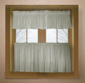 Solid Light Silver Gray Colored Café Style Curtain (includes 2 valances and 2 kitchen curtain panels in many custom lengths)