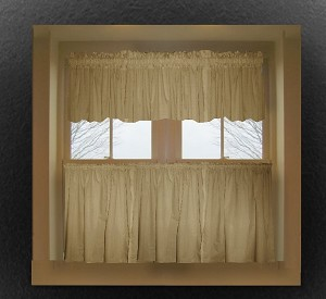 Solid Taupe-Khaki Colored Café Style Curtain (includes 2 valances and 2 kitchen curtain panels in many custom lengths)