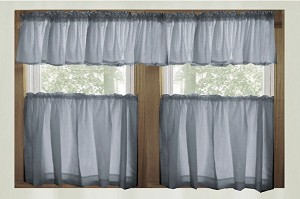 Wedgewood Blue Kitchen Curtain with Valances