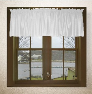 Solid Bright White Color Valances (set of two 40 inch wide, available in many lengths)