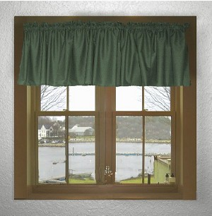 Solid Hunter Green Color Valances (set of two 40 inch wide, available in many lengths)