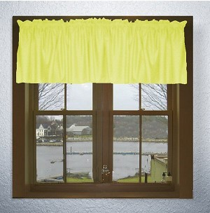 Solid Lemon Yellow Color Valances (set of two 40 inch wide, available in many lengths)